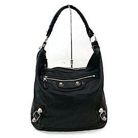 Balenciaga Black Leather Giant Day Hobo 855005