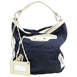Balenciaga Hobo The Day 871252 Navy Blue Denim Shoulder Bag