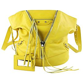 Balenciaga Bucket Jaune Citron Calfskin Papier Drop 10balz0629 Yellow Leather Cross Body Bag