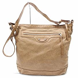 Balenciaga Messenger Hobo Khaki Day Light 869838 Brown Leather Shoulder Bag