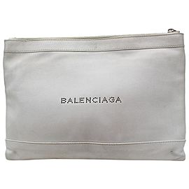 Balenciaga Light Everyday Zip Pouch 868540 Grey Leather Clutch