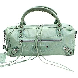 Balenciaga Mint Twiggy 2way Boston 868287 Green Leather Shoulder Bag