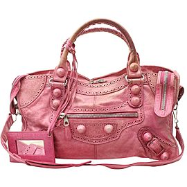 Balenciaga Oxford The City 2way 870151 Pink Leather Shoulder Bag