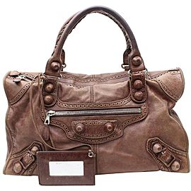 Balenciaga Oxford The First City Handbag 868288 Brown Leather Shoulder Bag