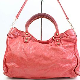 Balenciaga The City 2way 866491 Red Leather Shoulder Bag