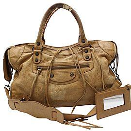 Balenciaga The City 2way 867274 Brown Leather Shoulder Bag