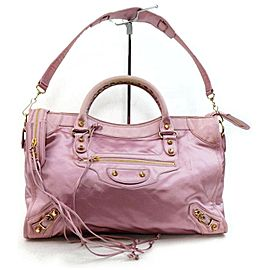 Balenciaga The City 2way 872819 Pink Silk Shoulder Bag