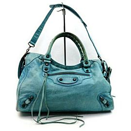 Balenciaga The City 2way 872835 Light Blue Leather Shoulder Bag