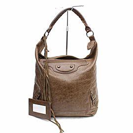 Balenciaga Hobo The Day 868317 Brown Leather Shoulder Bag