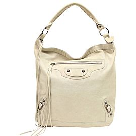Balenciaga Hobo The Sunday 867764 Ivory Leather Shoulder Bag