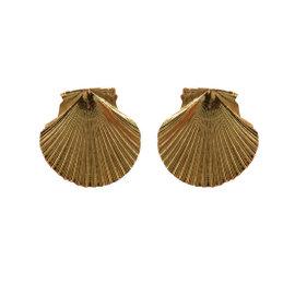 "14k Yellow Gold Seashell Sea Life Nautical 1 1/8"" Pierced Earrings"
