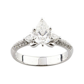 18K White Gold with 1.36ctw. Diamond Engagement Ring Size 6
