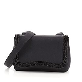 Chanel VIntage Curved Flap Crossbody Beaded Satin Mini