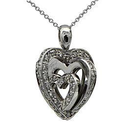 14K White Gold Diamond Heart Shaped Pendant Necklace