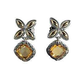 John Hardy 925 Sterling Silver & 18K Yellow Gold Citrine Kawung Flower Earrings