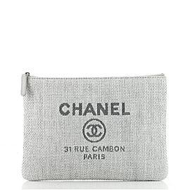 Chanel Deauville Pouch Raffia Medium