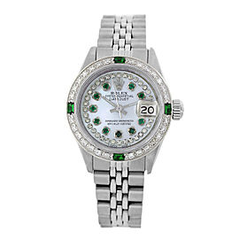Rolex Lady Datejust White Mother of Pearl Diamond Dial and Bezel 26mm Womens Vintage Watch