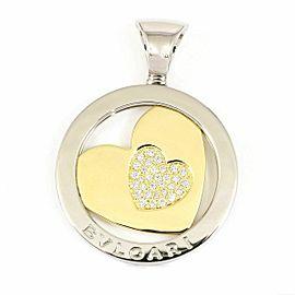 BVLGARI 18K Yellow Gold Stainless Stell Diamond Heart Tondo Necklace Charm Pendant CHAT-22