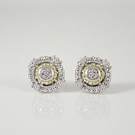 Judith Ripka Sterling Silver & 18K Yellow Gold Garland Diamond Stud Earrings