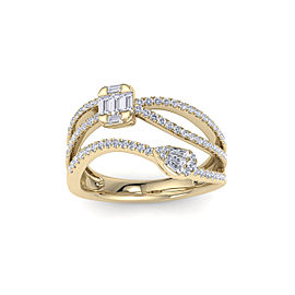 GLAM ® Multi-band ring in 18K gold with white diamonds of 0.83 in weight