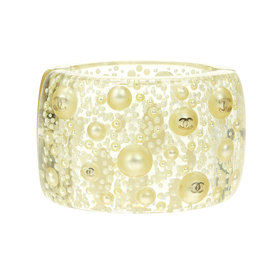 Chanel 13S Clear Resin Simulated Glass Pearl Bracelet Cuff