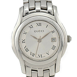 GUCCI 5500L Date Silver Dial Stainless Steel Quartz Women's Watch