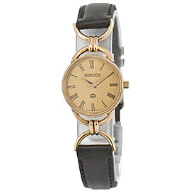 Gucci 6000L Black Dial Gold Plated/Leather Quartz Women's Watch