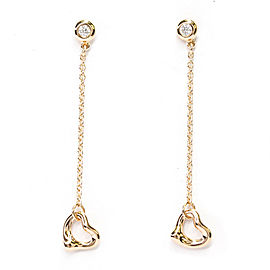TIFFANY & CO. 18K Pink Gold By The Yard Open Heart Diamond Earrings