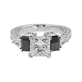 14K White Gold with 1.40ct Princess Cut Engagement Ring Size 6