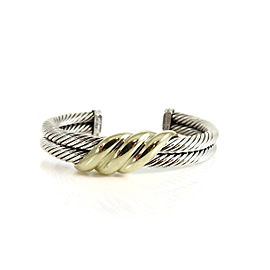 David Yurman Sterling Silver 14K Yellow Gold 2-Row Wave Cuff Bracelet
