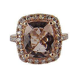 14K Rose Gold with Diamond & Morganite Ring Size 5.75