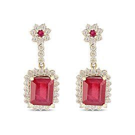 14K Yellow Gold Ruby Diamond Earrings