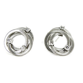 Marco Bicego 18K White Gold .18tcw Goa Triple Circle Diamond Earrings