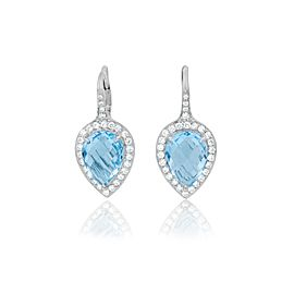Pear Shape Blue Topaz and Diamond Halo Lever Back Drop Earrings