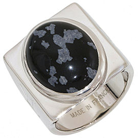 LOUIS VUITTON Sterling Silver Snowflake Obsidian Ring