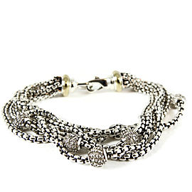 David Yurman Sterling Silver 18K Yellow Gold 1.00tcw 6-Row Box Chain Pave Diamond Ball Bracelet