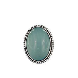 David Yurman Oval Aqua Chalcedony Diamond Ring