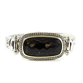 David Yurman Sterling Silver 18K Yellow Gold .48tcw Smoky Quartz Diamond 2-Row Elongated Albion Bracelet