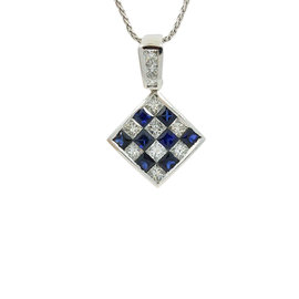 18K White Gold Diamond and Sapphire Pendent Necklace