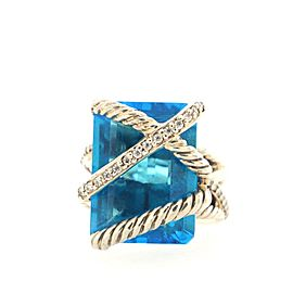 David Yurman Cable Wrap Ring Sterling Silver with Topaz and Diamonds 15mm