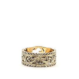 Gucci Interlocking G Arabesque Ring 18K Yellow Gold Wide