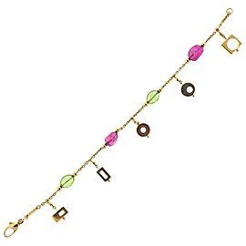 Pink Tourmaline Peridot Gold Charm Bracelet