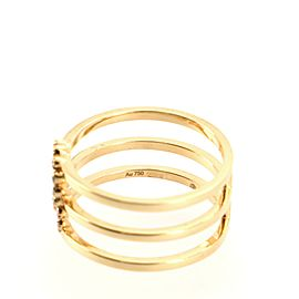 Gucci GG Running 3 Band Ring 18K Yellow Gold with Mixed Gemstones 7.25 - 55