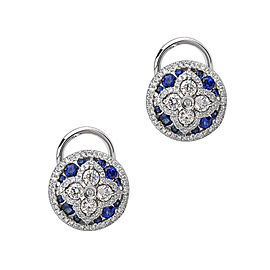 Charles Krypell 18K White Gold Diamond & Sapphire Earrings