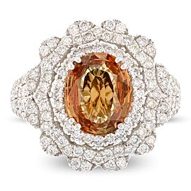 18K White Gold Sapphire Diamond Ring Size 7.5