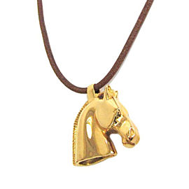 Hermes Cheval Gold Tone Hardware Leather Pendant Necklace