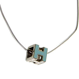 Hermes Cage d'h Enamel & Silver Tone Hardware Necklace