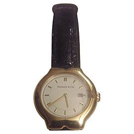 Tiffany & Co. Tesoro M0130 18K Yellow Gold & Leather 33mm Watch