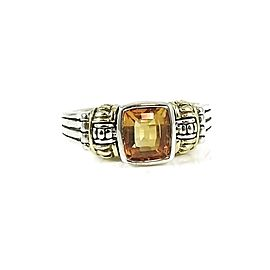 Lagos Sterling Silver and 18K Yellow Gold Citrine Glacier Now Ring Size 7