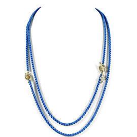 David Yurman Turquoise Bel Aire Necklace with 14K Yellow Gold Dual Cabled Toggle Closures